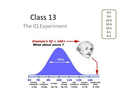 Class 13 The IQ Experiment 9.3 9.4 10.2 10.4 10.5 8.1 8.3.