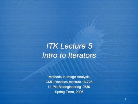 1 ITK Lecture 5 Intro to Iterators Methods in Image Analysis CMU Robotics Institute 16-725 U. Pitt Bioengineering 2630 Spring Term, 2006 Methods in Image.