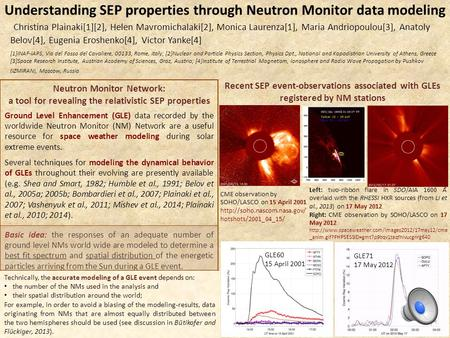 Understanding SEP properties through Neutron Monitor data modeling Neutron Monitor Network: a tool for revealing the relativistic SEP properties Ground.