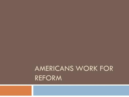 AMERICANS WORK FOR REFORM. New Words  Reform- make changes in something in order to improve it.  Education- the process of receiving or giving information.