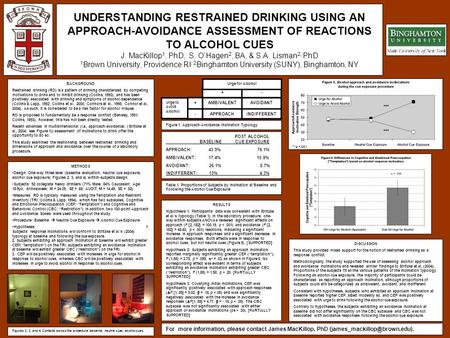 UNDERSTANDING RESTRAINED DRINKING USING AN APPROACH-AVOIDANCE ASSESSMENT OF REACTIONS TO ALCOHOL CUES J. MacKillop 1, PhD, S. O'Hagen 2, BA, & S.A. Lisman.