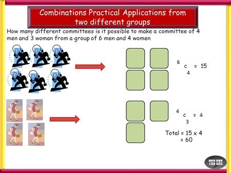 Combinations Practical Applications from two different groups How many different committees is it possible to make a committee of 4 men and 3 woman from.