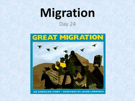 Migration Day 24. Migration Migration occurs when a group of people move from one region or country to another. Migration occurs for a number of reasons.