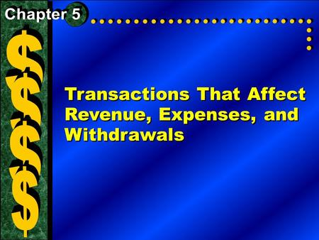Transactions That Affect Revenue, Expenses, and Withdrawals.