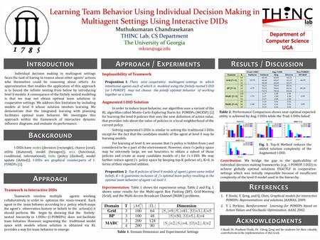 Learning Team Behavior Using Individual Decision Making in Multiagent Settings Using Interactive DIDs Muthukumaran Chandrasekaran THINC Lab, CS Department.