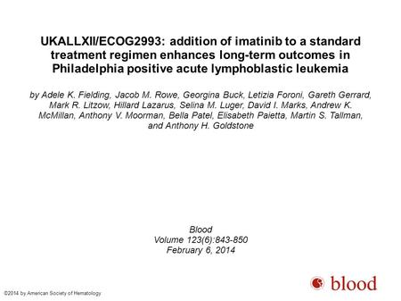 UKALLXII/ECOG2993: addition of imatinib to a standard treatment regimen enhances long-term outcomes in Philadelphia positive acute lymphoblastic leukemia.