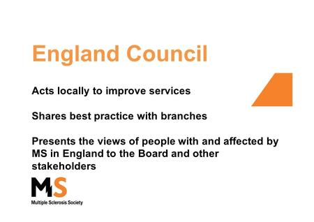 England Council Acts locally to improve services Shares best practice with branches Presents the views of people with and affected by MS in England to.
