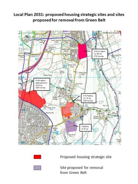 Local Plan 2031: proposed housing strategic sites and sites proposed for removal from Green Belt Proposed housing strategic site Site proposed for removal.