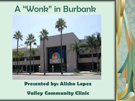 "A ""Wonk"" in Burbank Presented by: Alisha Lopez Valley Community Clinic."