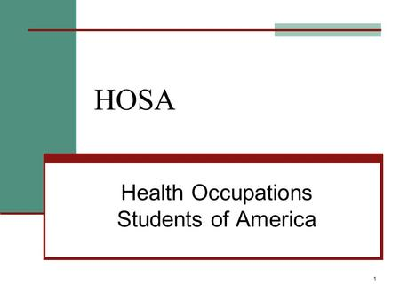 1 HOSA Health Occupations Students of America. 2 What is HOSA? HOSA-a national student organization endorsed by U.S. Dept. of Education & the Health Science.