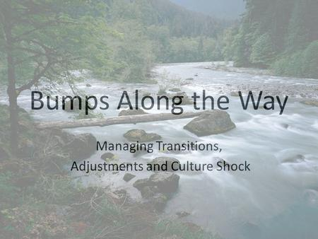Bumps Along the Way Managing Transitions, Adjustments and Culture Shock.