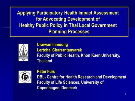 Applying Participatory Health Impact Assessment