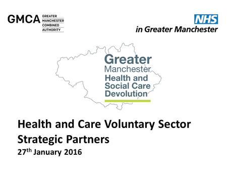 Health and Care Voluntary Sector Strategic Partners 27 th January 2016.
