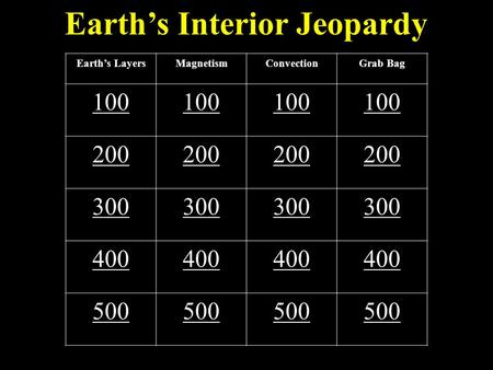 Earth's Interior Jeopardy Earth's LayersMagnetismConvectionGrab Bag 100 200 300 400 500.