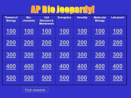 Themes of Biology Bio- chemistry Cell Structure & Membranes EnergeticsHeredityMolecular Biology Lab-pourri 100 200 300 400 500 FinalFinal JeopardyJeopardy.