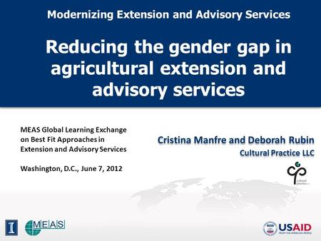 Modernizing Extension and Advisory Services Reducing the gender gap in agricultural extension and advisory services Modernizing Extension and Advisory.