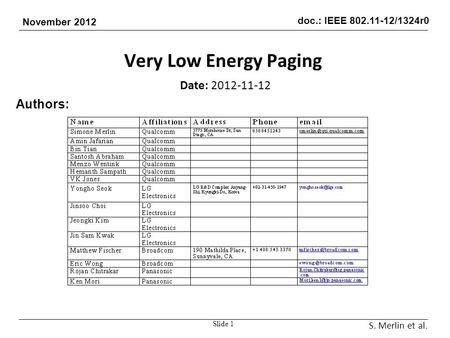 Doc.: IEEE 802.11-12/1324r0 November 2012 Very Low Energy Paging Date: 2012-11-12 Authors: Slide 1 S. Merlin et al.