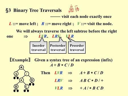 §3 Binary Tree Traversals —— visit each node exactly once L ::= move left ; R ::= move right ; V ::= visit the node. We will always traverse the left.