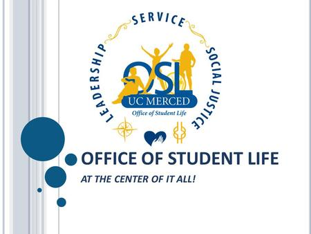OFFICE OF STUDENT LIFE AT THE CENTER OF IT ALL!. STUDENT INVOLVEMENT & SUCCESS It's about… The WHOLE student Involvement and activities Building relationships.