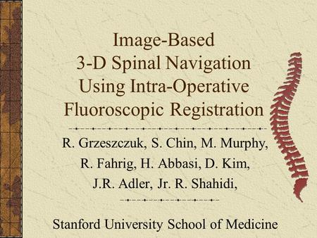 Image-Based 3-D Spinal Navigation Using Intra-Operative Fluoroscopic Registration R. Grzeszczuk, S. Chin, M. Murphy, R. Fahrig, H. Abbasi, D. Kim, J.R.