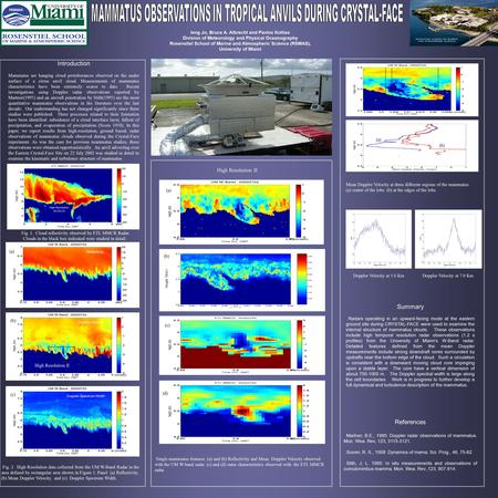 Ieng Jo, Bruce A. Albrecht and Pavlos Kollias Division of Meteorology and Physical Oceanography Rosenstiel School of Marine and Atmospheric Science (RSMAS),