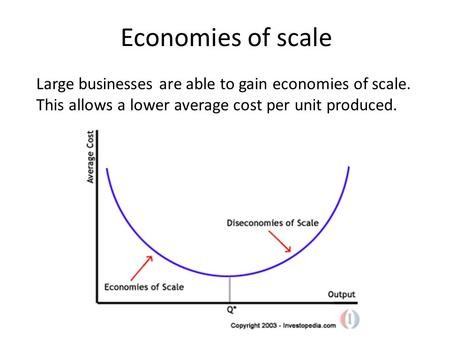 Economies of scale Large businesses are able to gain economies of scale. This allows a lower average cost per unit produced.