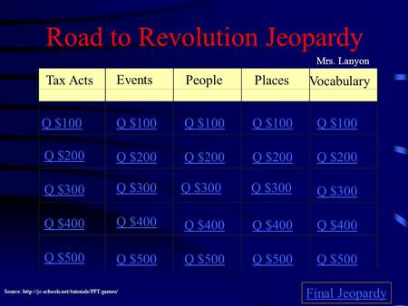 Road to Revolution Jeopardy Tax Acts Events People Places Vocabulary Q $100 Q $200 Q $300 Q $400 Q $500 Q $100 Q $200 Q $300 Q $400 Q $500 Final Jeopardy.