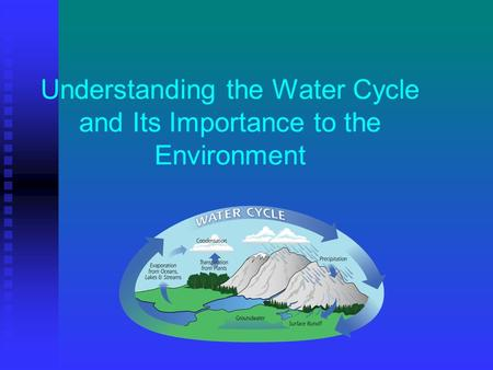 Understanding the Water Cycle and Its Importance to the Environment.