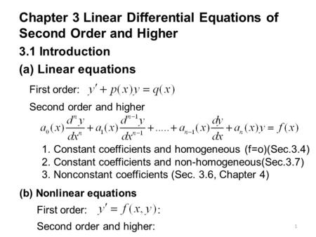 1 Chapter 3 Linear Differential Equations of Second Order and Higher 3.1 Introduction (a) Linear equations Second order and higher 1.Constant coefficients.
