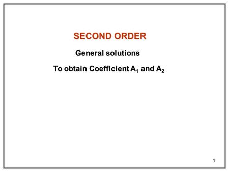 To obtain Coefficient A1 and A2