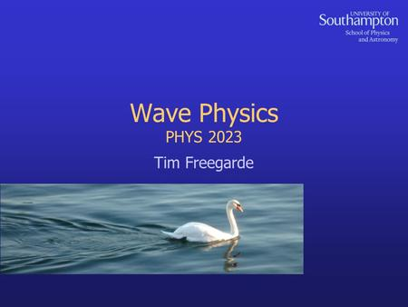 Wave Physics PHYS 2023 Tim Freegarde. 2 Coming up in Wave Physics... local and macroscopic definitions of a wavetransverse waves on a string: wave equation.