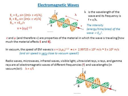  and  (and therefore v) are properties of the material in which the wave is traveling [how much the material affects E and B]. In vacuum, the speed of.