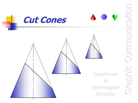Cut Cones. At the end of this unit you will be able to: Identify a Cone and draw orthographic views of Cones with cut surfaces. Project a cut surface.
