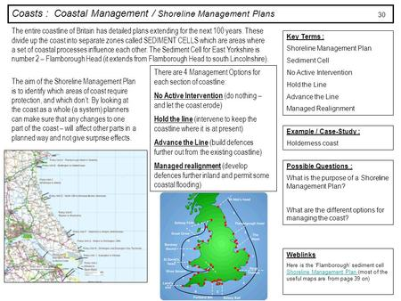 Coasts : Coastal Management / Shoreline Management Plans Key Terms : Shoreline Management Plan Sediment Cell No Active Intervention Hold the Line Advance.