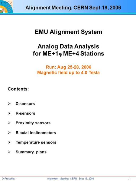 Alignment Meeting, CERN, Sept 19, 2006O.Prokofiev 1 EMU Alignment System Analog Data Analysis for ME+1yME+4 Stations Run: Aug 25-28, 2006 Magnetic field.