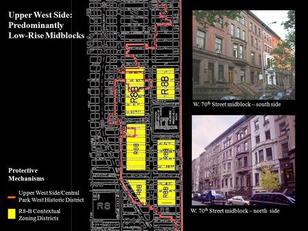 1 Upper West Side/Central Park West Historic District Protective Mechanisms R8-B Contextual Zoning Districts W. 70 th Street midblock – north side Upper.