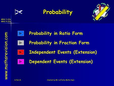 MNU 3-22a MNU 4-22a 6-Feb-16Created by Mr. Lafferty Maths Dept. Probability www.mathsrevision.com Probability in Ratio Form Independent Events (Extension)