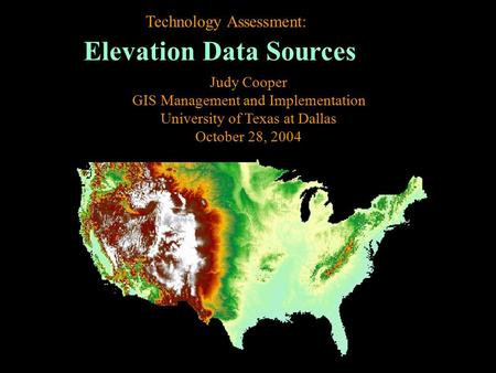Elevation Data Sources