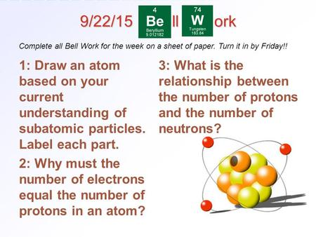4.3 Distinguishing Among Atoms > 1 9/22/15 ll ork 1: Draw an atom based on your current understanding of subatomic particles. Label each part. 2: Why must.