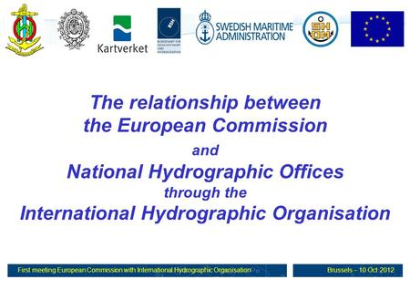First meeting European Commission with International Hydrographic OrganisationBrussels – 10 Oct 2012 The relationship between the European Commission and.