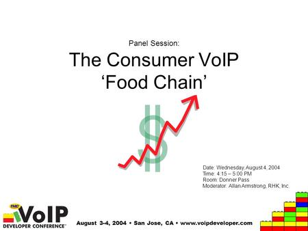 August 3-4, 2004 San Jose, CA www.voipdeveloper.com Panel Session: The Consumer VoIP 'Food Chain' Date: Wednesday, August 4, 2004 Time: 4:15 – 5:00 PM.
