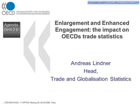 STD/PASS/TAGS – Trade and Globalisation Statistics STD/SES/TAGS – Trade and Globalisation Statistics Agenda Item 3 b Agenda Enlargement and Enhanced Engagement: