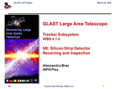 GLAST LAT ProjectMarch 24, 2003 6B Tracker Peer Review, WBS 4.1.4 1 GLAST Large Area Telescope: Tracker Subsystem WBS 4.1.4 6B: Silicon Strip Detector.
