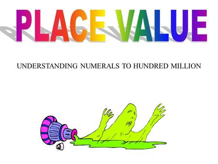 UNDERSTANDING NUMERALS TO HUNDRED MILLION. The third period in our number system is MILLIONS ONES __ __ __, THOUSANDS ___ ___ ___, MILLIONS ___ ___ __,,