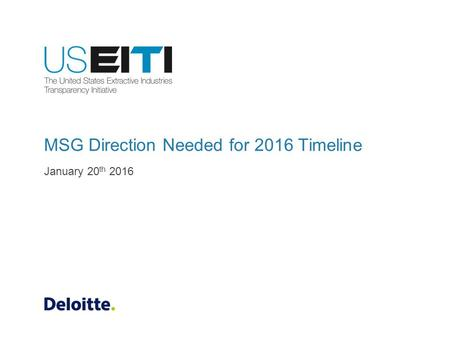 MSG Direction Needed for 2016 Timeline January 20 th 2016.