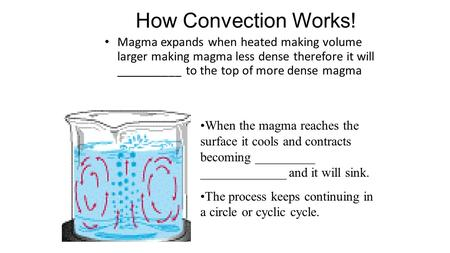 How Convection Works! Magma expands when heated making volume larger making magma less dense therefore it will __________ to the top of more dense magma.