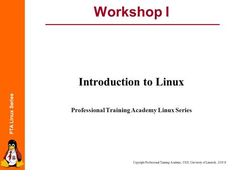 PTA Linux Series Copyright Professional Training Academy, CSIS, University of Limerick, 2006 © Workshop I Introduction to Linux Professional Training Academy.