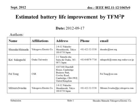 Submission doc.: IEEE 802.11-12/1065r0 Sept. 2012 Shusaku Shimada Yokogawa Electric Co. Slide 1 Estimated battery life improvement by TFM 2 P Date: 2012-09-17.