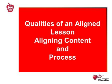 Qualities of an Aligned Lesson Aligning Content and Process.