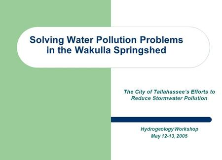 Solving Water Pollution Problems in the Wakulla Springshed The City of Tallahassee's Efforts to Reduce Stormwater Pollution Hydrogeology Workshop May 12-13,